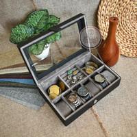 Box Kotak Jam Tangan isi 6 + Tempat Perhiasan & Aksesoris - Black Gray