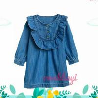 dress atasan anak perempuan bahan jeans via ruffle umur 5-6 tahun - 6 tahun