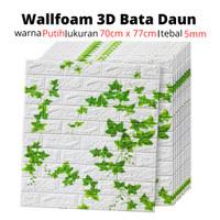 Wallpaper Stiker Dinding 3D Foam Motif Batu Bata Daun 70cm x 77cm