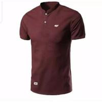 Polo Shirt Sanghai/Kaos Kerah Bulat Pria dan wanita Warna Merah Hati - M