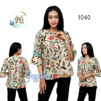 1040 Blouse Batik Kembang Modern - Blus Kemeja Atasan Wanita Cream - S