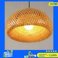 Kap lampu gantung lampu hias anyaman bambu lampu cafe hotel kamar
