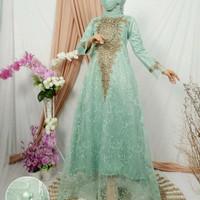Kebaya Tile Gamis Brukat Bordir Modern Dress Wanita Muslim Baju Pesta - Wardah, M