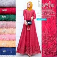 Dress Muslimah Gamis Brukat Premium Modern Baju Atasan Muslim Wanita