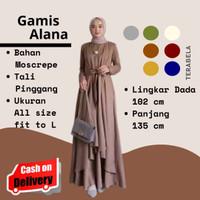 Baju Dress Wanita Muslim Alana Maxi Terbaru Gamis - Army, all size