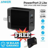 Wall Charger Anker MFI Fast Charging PowerPort 2 Lite PowerIQ Original