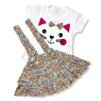 OverAll Dress Anak Perempuan Katun 6-12 Bulan Kitty Face Rok Bunga - Kuning