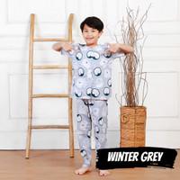 Piyama anak laki WINTER GREY penguin Katun catra murah adem lucu