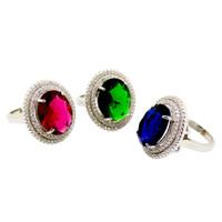Cincin Wanita Batu kristal Sterling Silver 925 Seri Batu Warna CW012