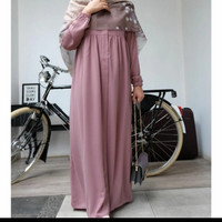 gamis cantik maxi babydoll itycrep/gamis polos itycrep resleting busui