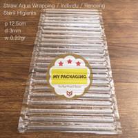 Sedotan Aqua renceng / sedotan plastik steril isi 24pcs / pack