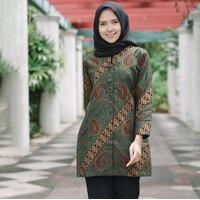 Baju Batik Wanita - Blouse Batik - Blus Batik Kerja - - Hijau, S