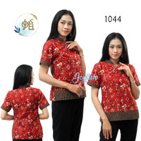 1044 Blouse Batik Lasem Model Cheongsam Merah - Blus Kemeja Wanita - S