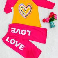 Stelan Anak Celana Kulot/ Baju Stelan Perempuan umur 5 - 10 tahun - Pink, L