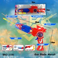 PROMO Mainan Anak Pistol Pistolan Tembak Tembakan Baterai Suar BRO1191 - Merah