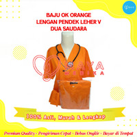 Baju OK / Dua Saudara / Orange / Lengan Pendek / Leher V