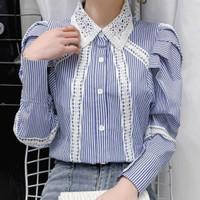 kemeja import atasan katun brukat lace shirt korea garis garis wanita