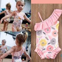 bikini renang bayi 3bln-4thn Bunga Dandelion rumbai pink soft swimsuit
