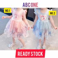baju anak perempuan unicorn / dress unicorn / princess / frozen - 120 blue