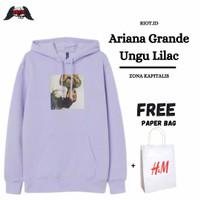 Hoodie, Jaket Pria/ Wanita H&M Ariana Grande Ungu Lilac FREE PAPER BAG