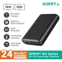 Aukey Powerbank PB-Y39 15000mAh USB C PD 3.0 & USB A QC 3.0 - 500550