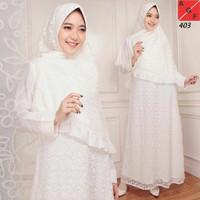 Gamis wanita warna putih gamis brukat putih premium baju gamis lebaran