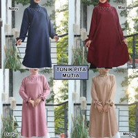 Baju Atasan Tunik Wanita Jumbo Pita Atasan Muslim Lengan Panjang Big