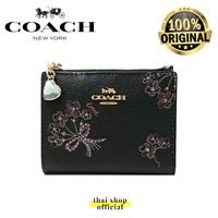 (100% ORIGINAL) COACH Snap Small Wallet Card with Ribbon Bouquet Print
