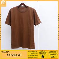 Kaos Polos Pria Wanita Anak Laki Anak Perempuan Warna Cokelat Cotton