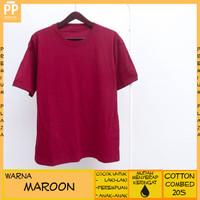 Kaos Polos Pria Wanita Anak Laki Anak Perempuan Warna Maroon Cotton - S