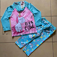 Baju Renang Anak Perempuan Swimwear Unicorn Pink Biru Panjang Teen - Biru, 10-11 tahun