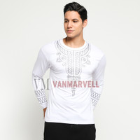 VM Kaos Putih Motif Black Panther Baju Koko Panjang Pria
