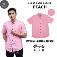 LoopStuff Baju Kemeja Pria Oxford Lengan Pendek Warna Merah Muda Polos