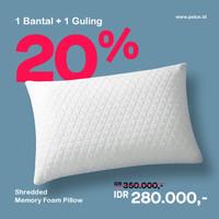 1 Bantal + 1 Guling - PELUX - Shredded Memory Foam