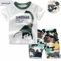 setelan pakaian baju anak laki-laki 1 tahun - 5 tahun motif dino army