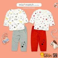 Setelan Anak Bayi / Baju Bayi / Setelan Pakaian Kaos Anak Baby Leon - Merah