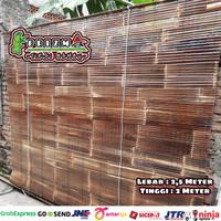 Tirai krey bambu kulit hitam size L-2,5m x T-2m sudah di vernis