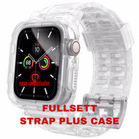 STRAP APPLE WATCH 6 5 4 3 SE 44mm 40mm CASE IWATCH TRANSPARAN TALI - CLEAR WHITE, SIZE 44MM