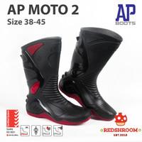 SEPATU BOOT TINGGI AP BOOTS AP MOTO 2 HITAM MERAH MOTOR SIZE 38-45 - 38