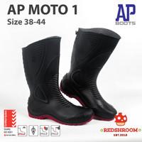 SEPATU BOOT TINGGI AP BOOTS AP MOTO 1 HITAM MERAH MOTOR SIZE 38-44