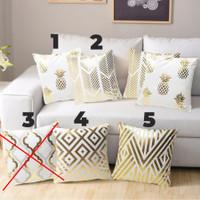 Sarung Bantal Sofa Bentuk Kotak ; Motif Warna Emas : Pineapple dll