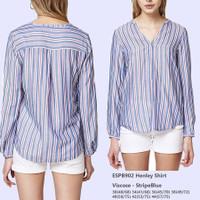 ESPRIT 902 Henley Shirt Stripe Top Baju Atasan Wanita Branded