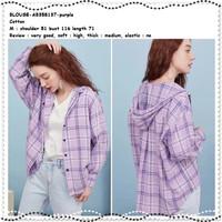 AB358137 Baju Atasan Kemeja Kotak Hoodie Wanita Korea Ungu Lilac Tunik