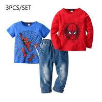 Setelan Anak Laki-Laki Kaos Panjang Spiderman Jeans 3-in-1 - 2-3 tahun