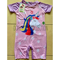 Baju Renang Anak Perempuan Swimwear Unicorn Rainbow Pink Pendek Teen - Ungu, 8-9 tahun