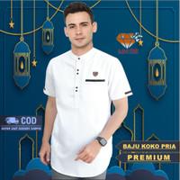 Baju Koko Pria Rabbani Premium Lengan Pendek Polos Warna Putih Modern