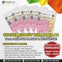 Kertas Stiker Label Sticker Text Paper HVS Glossy A4 100 Gr 50 Lembar
