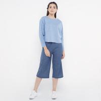 Spesial Promo Setelan Wanita Celana Kulot dan Kaos - Navy/Blue, S