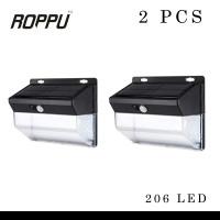 (2 PCS) Roppu Lighting 206 LED Solar Wall Light Outdoor