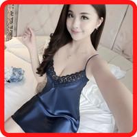 Sexy Lingerie Baju Tidur Gaun Malam Biru Dongker LJM9104BD